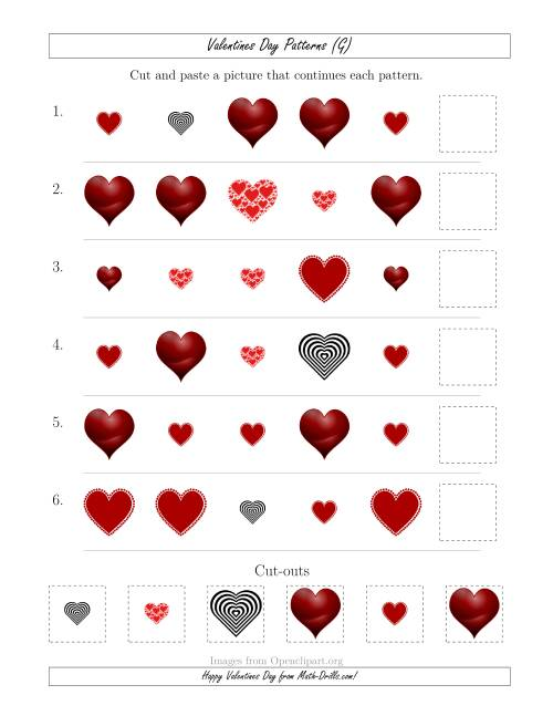 The Valentines Day Picture Patterns with Shape and Size Attributes (G) Math Worksheet
