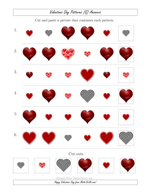 The Valentines Day Picture Patterns with Shape and Size Attributes (G) Math Worksheet Page 2