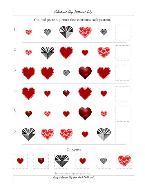 The Valentines Day Picture Patterns with Shape and Size Attributes (J) Math Worksheet