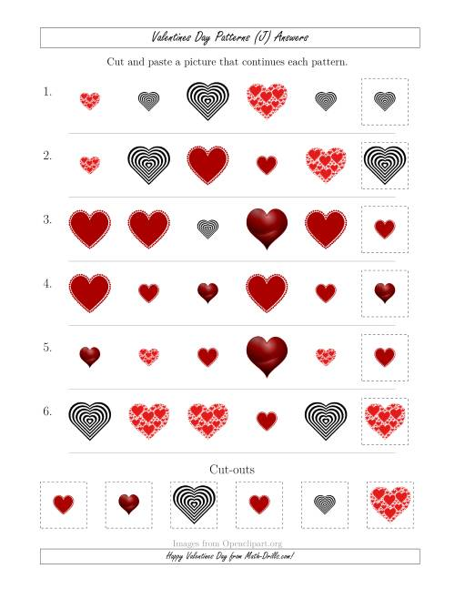 The Valentines Day Picture Patterns with Shape and Size Attributes (J) Math Worksheet Page 2