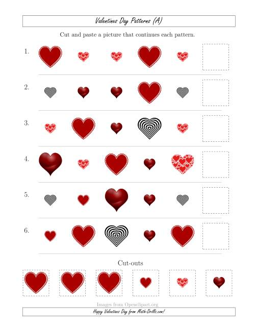 The Valentines Day Picture Patterns with Shape and Size Attributes (All) Math Worksheet