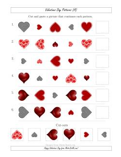 Valentines Day Picture Patterns with Shape, Size and Rotation Attributes