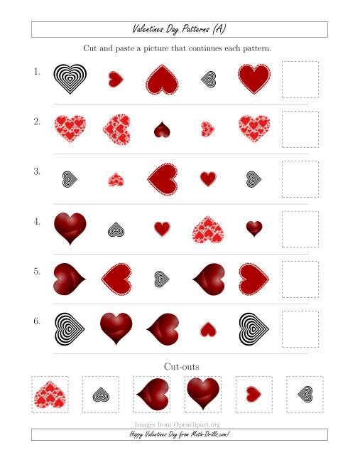 The Valentines Day Picture Patterns with Shape, Size and Rotation Attributes (A) Valentines Day Math Worksheet