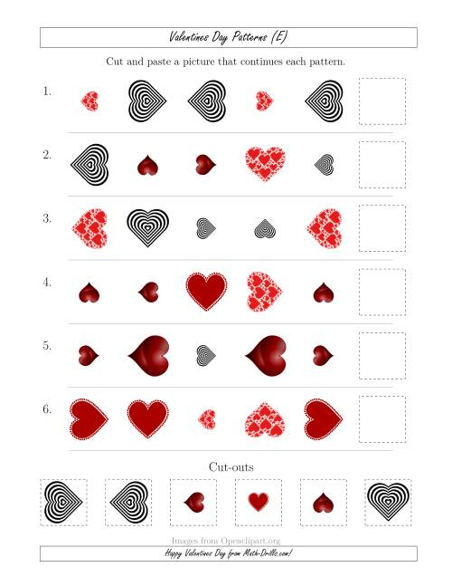 The Valentines Day Picture Patterns with Shape, Size and Rotation Attributes (E) Math Worksheet