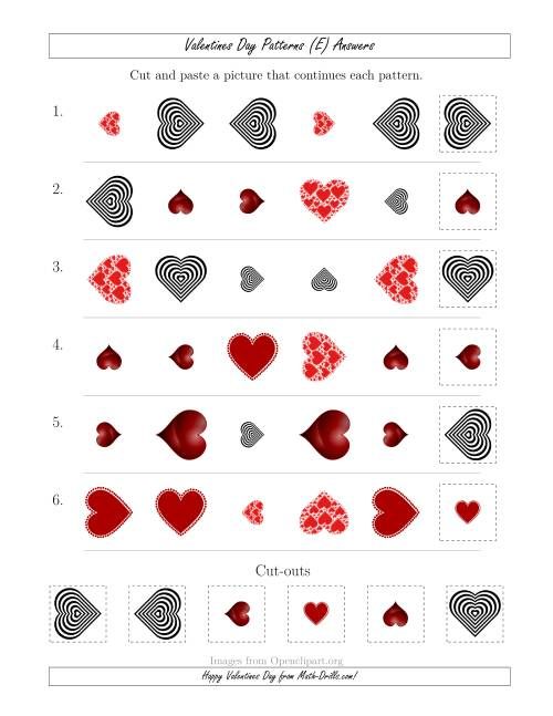 The Valentines Day Picture Patterns with Shape, Size and Rotation Attributes (E) Math Worksheet Page 2