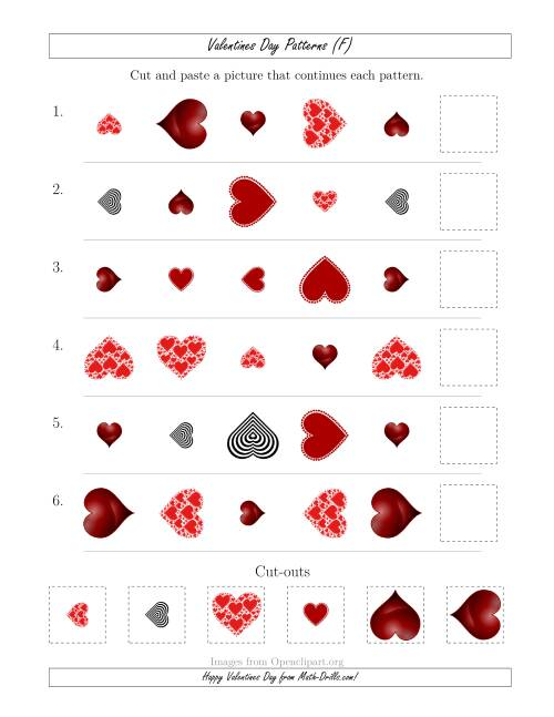The Valentines Day Picture Patterns with Shape, Size and Rotation Attributes (F) Math Worksheet