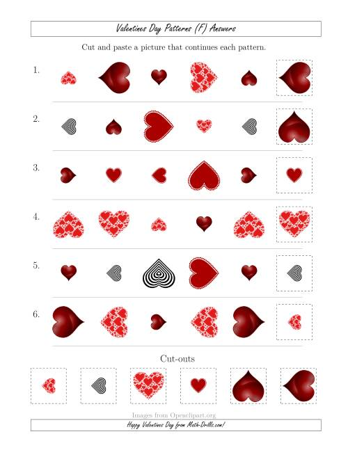 The Valentines Day Picture Patterns with Shape, Size and Rotation Attributes (F) Math Worksheet Page 2