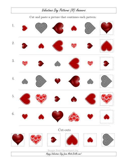 The Valentines Day Picture Patterns with Shape, Size and Rotation Attributes (H) Math Worksheet Page 2