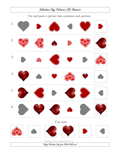 The Valentines Day Picture Patterns with Shape, Size and Rotation Attributes (All) Math Worksheet Page 2