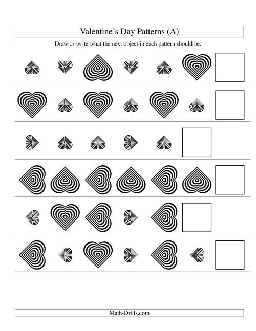 The Two-Attribute Patterns (Size and Rotation) Featuring Black and White Hearts (A) Valentine's Day Math Worksheet