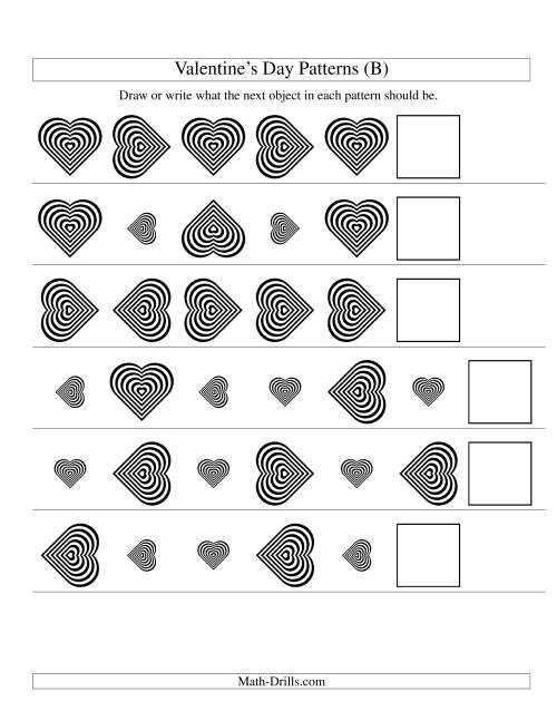 The Two-Attribute Patterns (Size and Rotation) Featuring Black and White Hearts (B) Math Worksheet