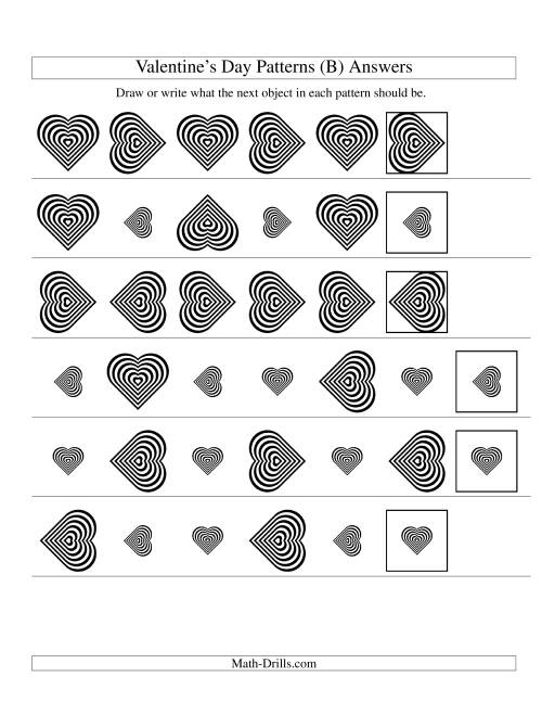 The Two-Attribute Patterns (Size and Rotation) Featuring Black and White Hearts (B) Math Worksheet Page 2