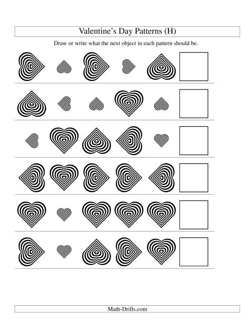 The Two-Attribute Patterns (Size and Rotation) Featuring Black and White Hearts (H) Math Worksheet