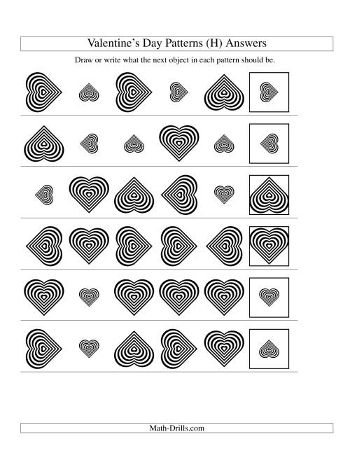 The Two-Attribute Patterns (Size and Rotation) Featuring Black and White Hearts (H) Math Worksheet Page 2