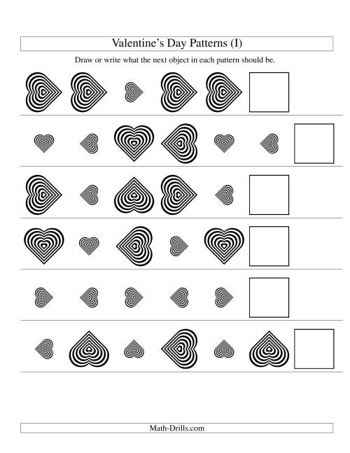 The Two-Attribute Patterns (Size and Rotation) Featuring Black and White Hearts (I) Math Worksheet