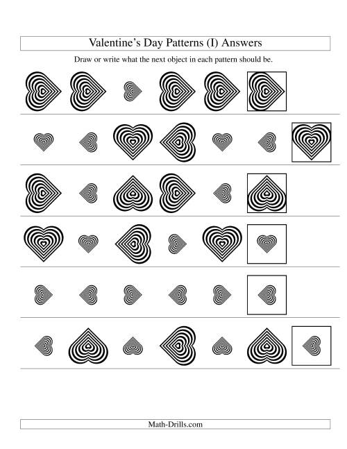 The Two-Attribute Patterns (Size and Rotation) Featuring Black and White Hearts (I) Math Worksheet Page 2