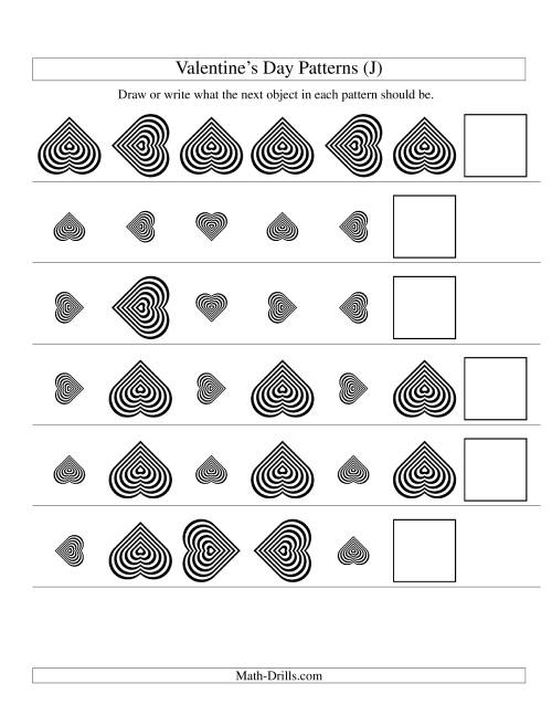The Two-Attribute Patterns (Size and Rotation) Featuring Black and White Hearts (J) Math Worksheet