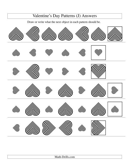 The Two-Attribute Patterns (Size and Rotation) Featuring Black and White Hearts (J) Math Worksheet Page 2