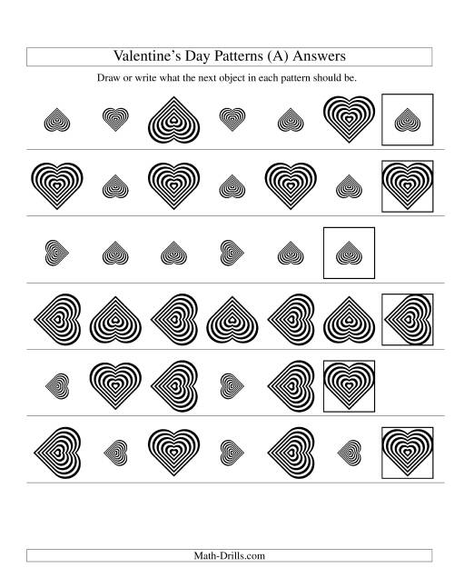 The Two-Attribute Patterns (Size and Rotation) Featuring Black and White Hearts (All) Math Worksheet Page 2