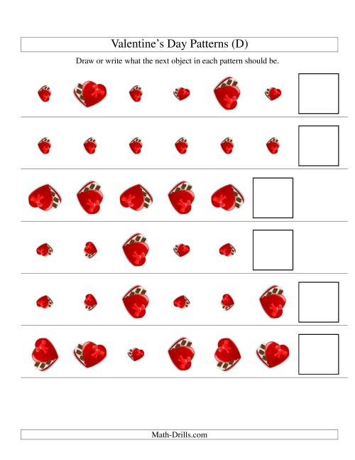 The Two-Attribute Patterns (Size and Rotation) Featuring Chocolates (D) Math Worksheet