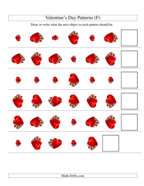 The Two-Attribute Patterns (Size and Rotation) Featuring Chocolates (F) Math Worksheet