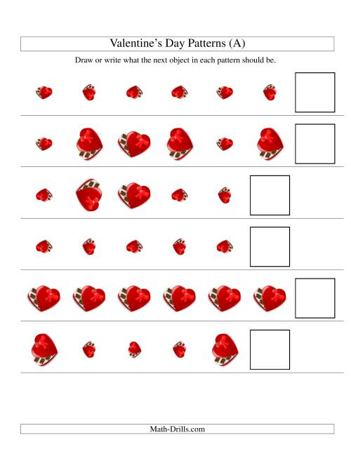 The Two-Attribute Patterns (Size and Rotation) Featuring Chocolates (All) Math Worksheet