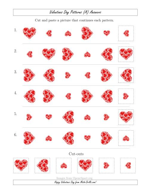 The Valentines Day Picture Patterns with Size and Rotation Attributes (A) Math Worksheet Page 2