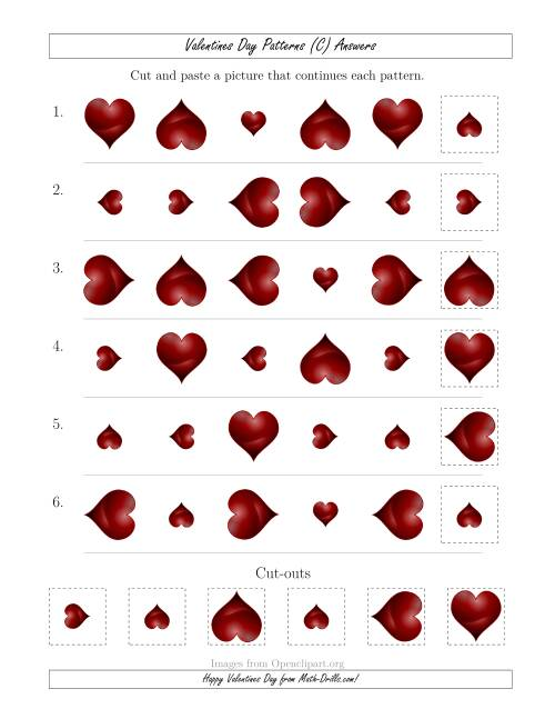 The Valentines Day Picture Patterns with Size and Rotation Attributes (C) Math Worksheet Page 2