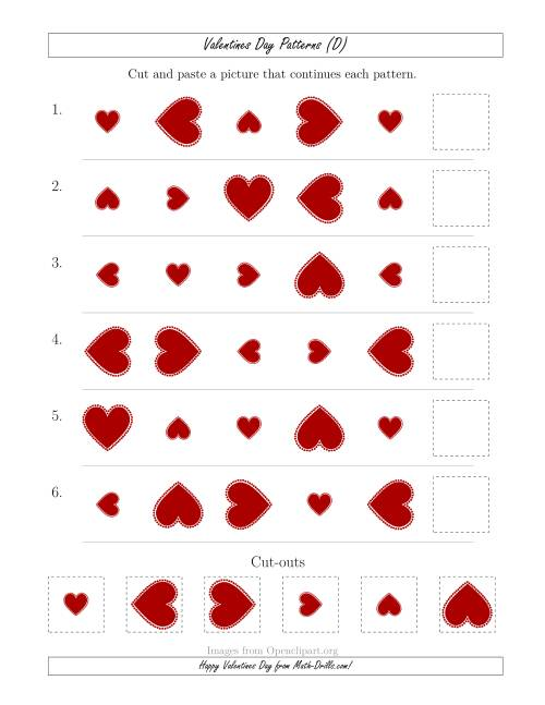 The Valentines Day Picture Patterns with Size and Rotation Attributes (D) Math Worksheet