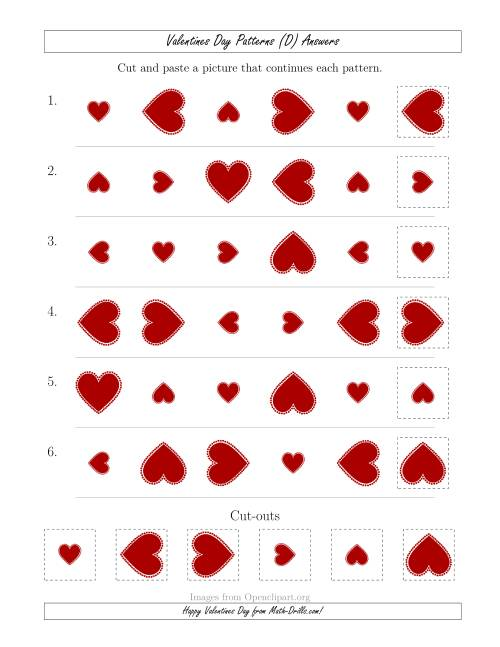 The Valentines Day Picture Patterns with Size and Rotation Attributes (D) Math Worksheet Page 2