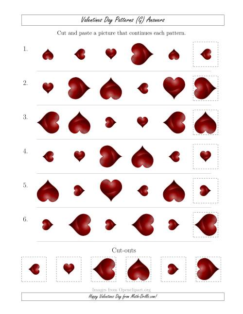 The Valentines Day Picture Patterns with Size and Rotation Attributes (G) Math Worksheet Page 2