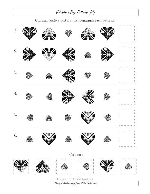 The Valentines Day Picture Patterns with Size and Rotation Attributes (J) Math Worksheet