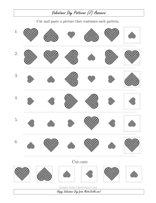 The Valentines Day Picture Patterns with Size and Rotation Attributes (J) Math Worksheet Page 2