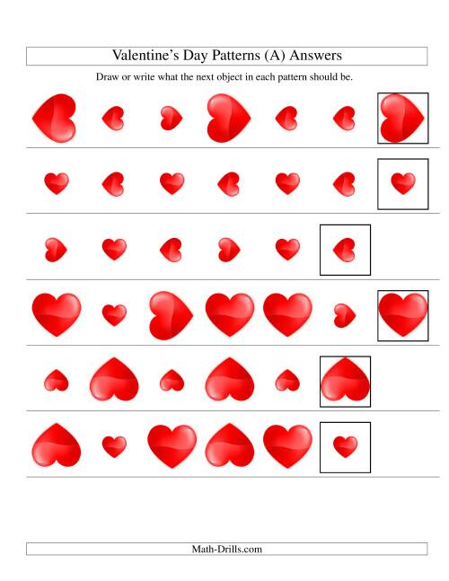 The Two-Attribute Patterns (Size and Rotation) Featuring Hearts (Old) Math Worksheet Page 2