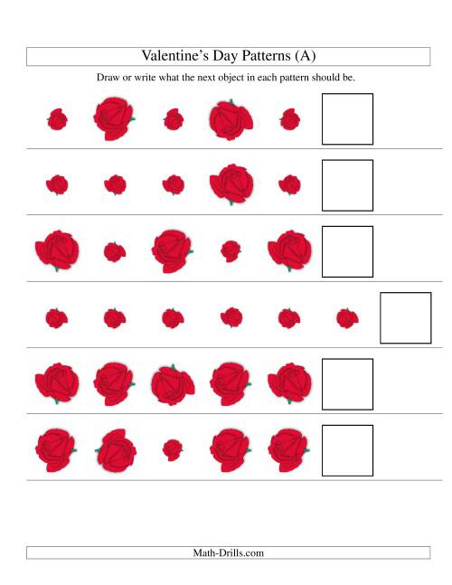 The Two-Attribute Patterns (Size and Rotation) Featuring Roses (A) Valentine's Day Math Worksheet