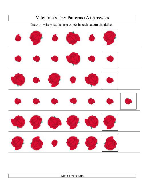 The Two-Attribute Patterns (Size and Rotation) Featuring Roses (A) Math Worksheet Page 2