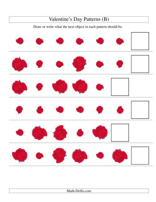 The Two-Attribute Patterns (Size and Rotation) Featuring Roses (B) Math Worksheet