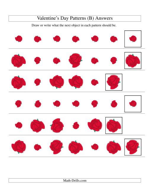 The Two-Attribute Patterns (Size and Rotation) Featuring Roses (B) Math Worksheet Page 2