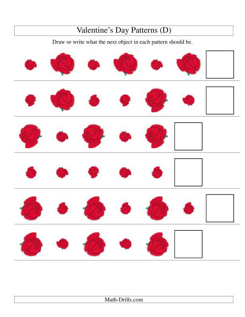 The Two-Attribute Patterns (Size and Rotation) Featuring Roses (D) Math Worksheet