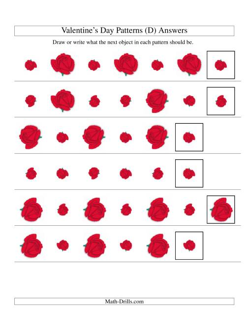 The Two-Attribute Patterns (Size and Rotation) Featuring Roses (D) Math Worksheet Page 2
