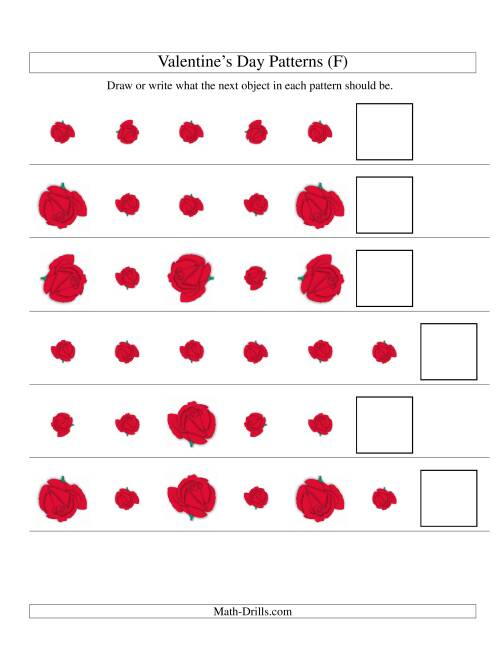 The Two-Attribute Patterns (Size and Rotation) Featuring Roses (F) Math Worksheet