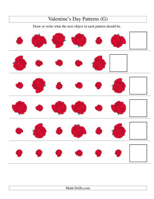 The Two-Attribute Patterns (Size and Rotation) Featuring Roses (G) Math Worksheet