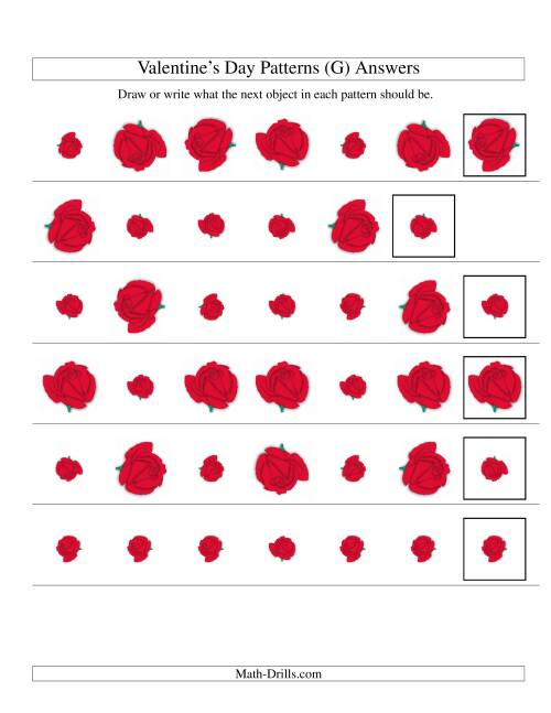 The Two-Attribute Patterns (Size and Rotation) Featuring Roses (G) Math Worksheet Page 2
