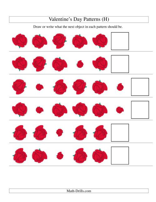 The Two-Attribute Patterns (Size and Rotation) Featuring Roses (H) Math Worksheet