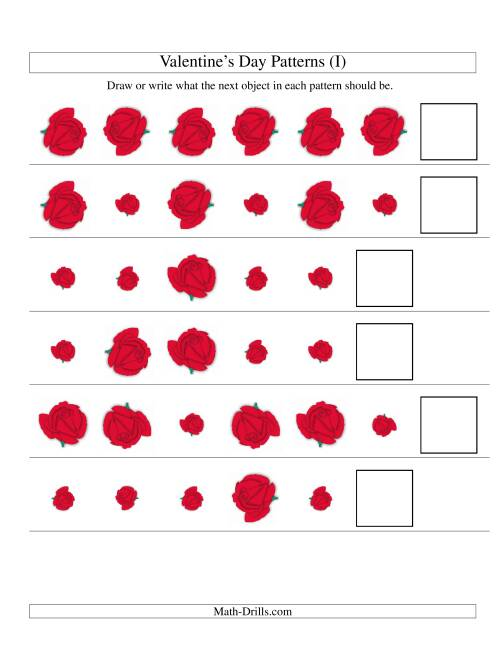 The Two-Attribute Patterns (Size and Rotation) Featuring Roses (I) Math Worksheet