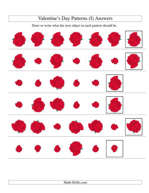 The Two-Attribute Patterns (Size and Rotation) Featuring Roses (I) Math Worksheet Page 2
