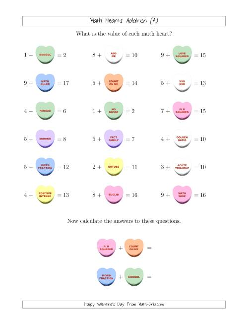 The Math Hearts 1-Digit Addition with a Missing Addend (Old) Math Worksheet