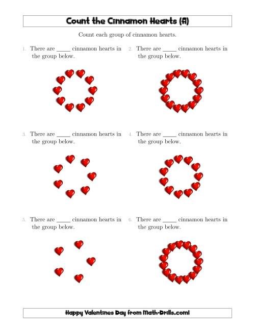 The Counting Cinnamon Hearts in Circular Arrangements (A) Math Worksheet