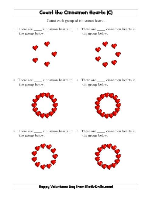 The Counting Cinnamon Hearts in Circular Arrangements (C) Math Worksheet