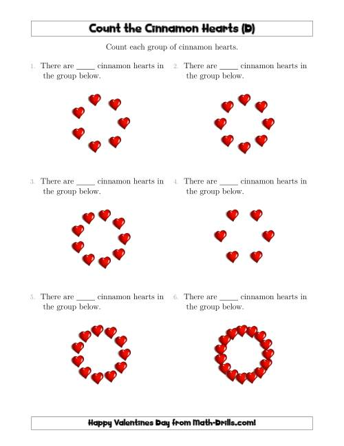 The Counting Cinnamon Hearts in Circular Arrangements (D) Math Worksheet